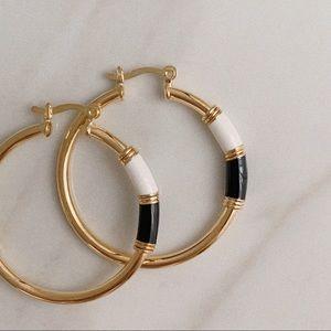 Black White Enamel Tube Hoops | 18k Gold Filled